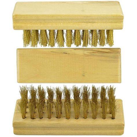 Wooden Block Brass Suede Brush