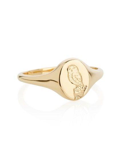 Little Owl Yellow Gold Signet Ring