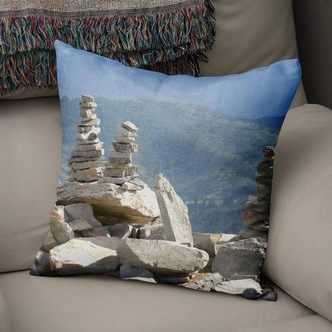 Zen Throw Pillow, Rock Cairns, Hiker