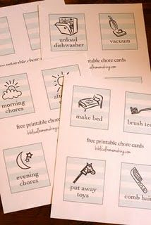 Free printable chore cards. You can cut, laminate, and make a little booklet with a ring.