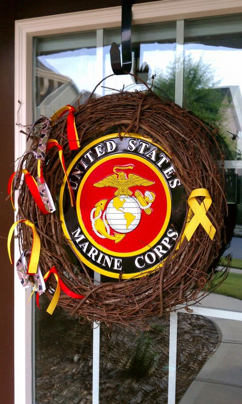 """18"""" Marine Corps Door Wreath by LongLiveWreaths on Etsy, $35.00"""