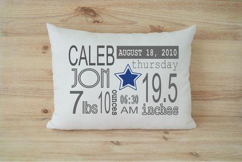 Baby Gift Baby Stats Pillow Custom Baby