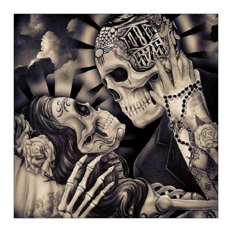 5D DIY Full Drill Diamond Painting Skull Couple Cross Stitch Embroidery Mosai – Everydayedeals