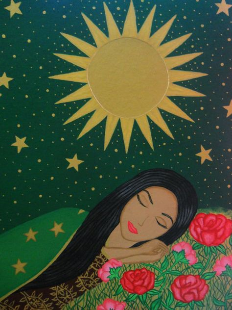 La Virgin Dormida (Linda Monsivais) - La Virgen Dormida by Linda Monsivais (wish I could find a website for this artist) Source by Guaganayli Kunst Inspo, Art Inspo, Art And Illustration, Arte Latina, Latino Art, Chicano Art, Chicano Tattoos, Mexican Folk Art, Mexican Artwork