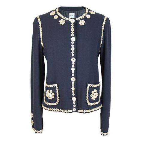 Blue Buttons 1990s Pearl Moschino Mother Wool Embroidered 8XnOk0wP
