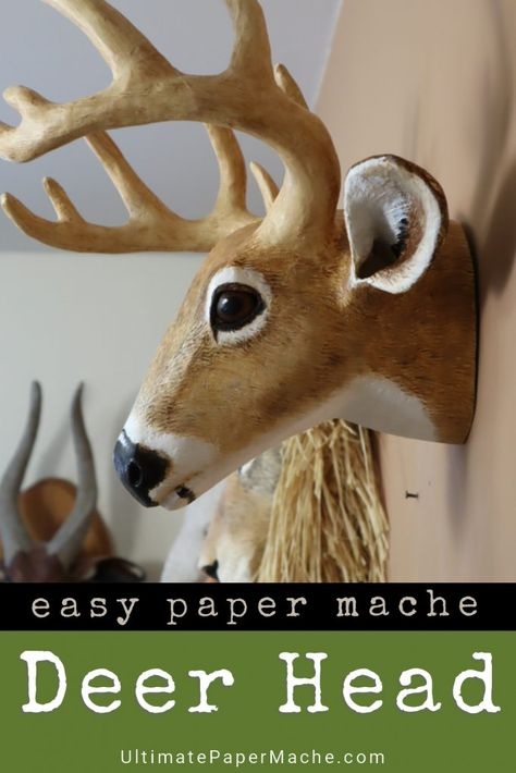 Brownfolds DIY Paper Wall Trophy; Origami Deer Head Wall Decor Art Piece; Pre-Cut and Scored Paper Templates