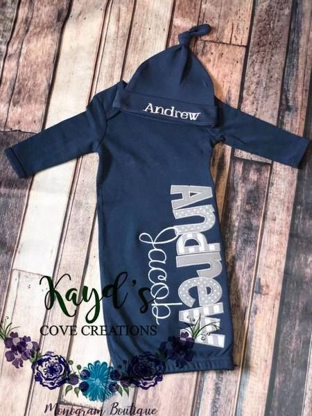 Custom Baby Boy Gown Baby Boy Sailboat Gown Sailboat Baby Gown Custom Baby Gown