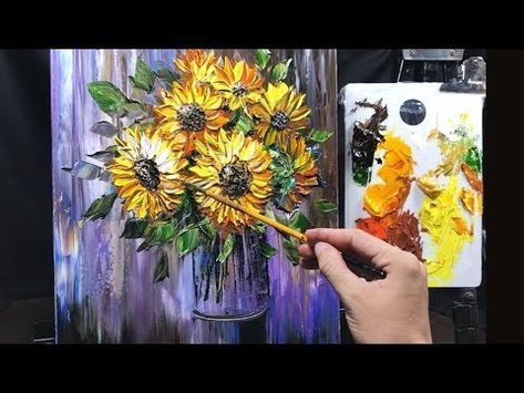 How To Paint Sunflowers In A Vase In Acrylic Using Palette Knife