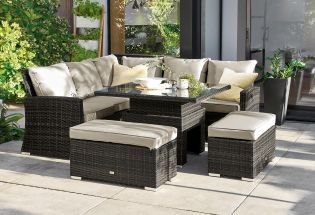 Buy Monaco Brown Slim Living And Dining Table Garden Set From The Next Uk Online Shop Garden Sofa Set Garden Patio Sets Outdoor Furniture Sets