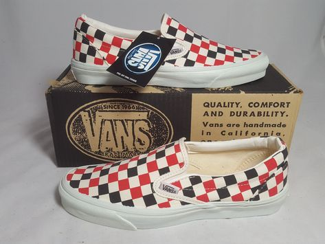 02c8bcca99 Vintage Vans SLIP ON Shoes MULTI CHECKERS made USA Men s Size 9 NOS Old  Skool SK8