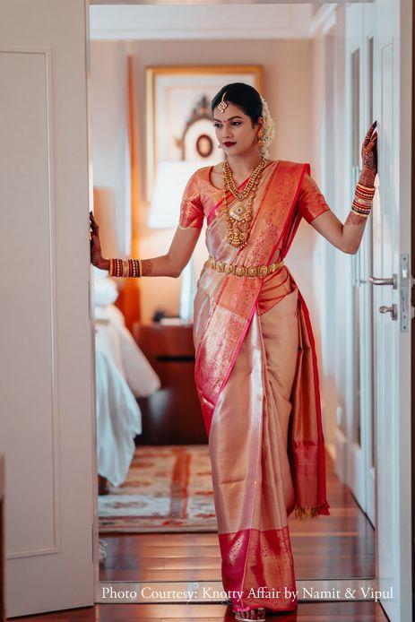 Ashrita shetty and manish pandey celebrity weddings weddingsutra Bridal Sarees South Indian, South Indian Bridal Jewellery, Bridal Silk Saree, Indian Bridal Outfits, Indian Bridal Fashion, Saree Wedding, Tamil Wedding, Indian Wedding Sarees, Bride Indian