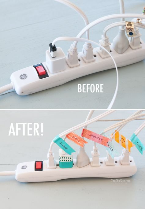 Before and After Cord Organization ~ using washi tape #diy #tips #home