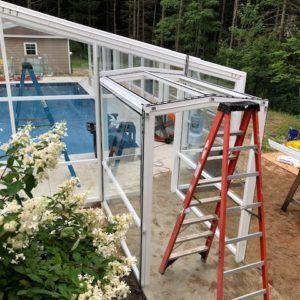 Retractable Residential Pool Enclosure Scarborough Me Residential Pool Pool Enclosures Roofing Systems
