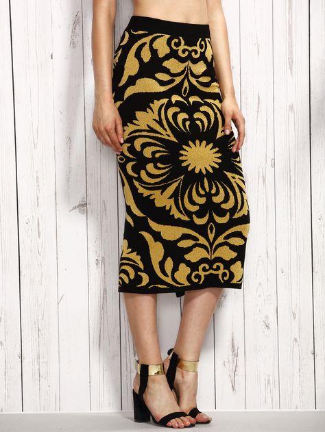 422471972f Shop Contrast Flower Pattern Split Knit Pencil Skirt online. SheIn offers  Contrast Flower Pattern Split Knit Pencil Skirt & more to fit your  fashionable ...