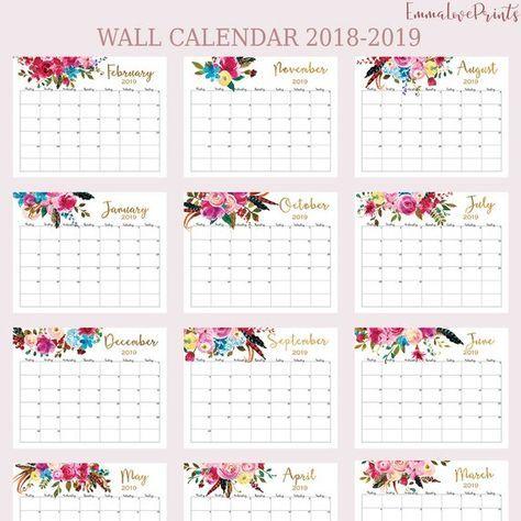 Wall Calendar 2018 2019 Calendar Printable Calendar Floral Large Wall Perpetual Calendarl Desk Calendar Monthly Planner 2019 Monday Start