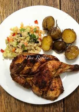 Roasted Chicken With Rosemary Potatoes And Quinoa Salad Resep Resep Pasta Makanan