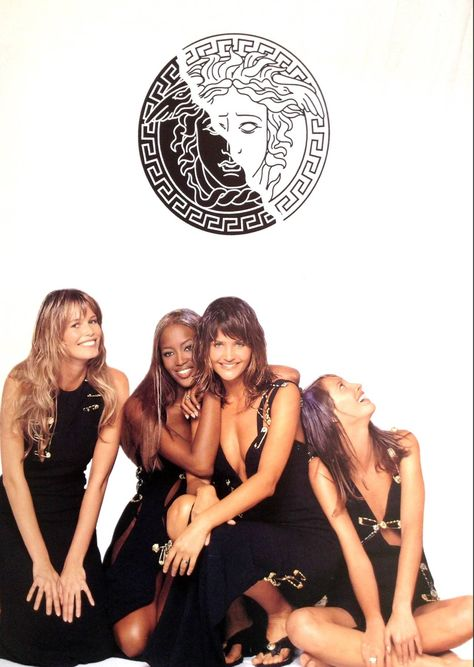 Claudia Schiffer, Naomi Campbell, Helena Christiansen and Christy Turlington for Gianni Versace, Spring/Summer 1994