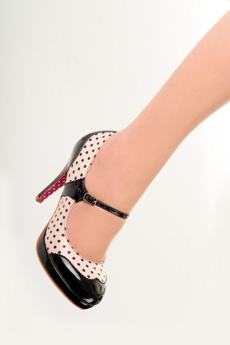 Chaussures Escarpins Pin-Up Rockabilly 50's Mary Jane Pois Polka - Chaussures - Tous nos Produits