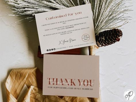 Editable and printable thank you card template, Thank you card business digital download, Thank you for your purchase cards, Boho packaging