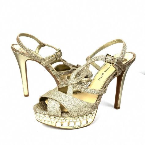 341fc4e89fa Gianni Bini Shoes Heels Gold Glitter Strappy Crystal Prom Pageant Platform  Sz 6  Promheels