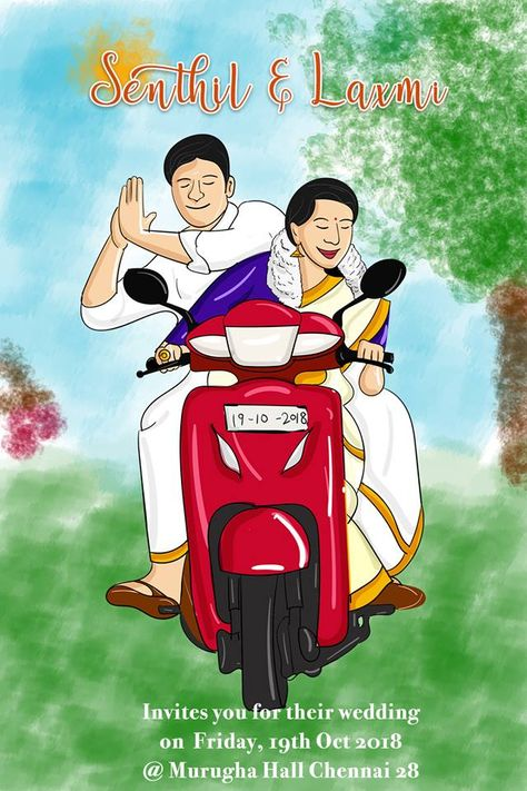 Couple riding in a bike wedding card from dreamcards.in  #paperengineeringcard #dreamcards #weddingcard #weddinginvitation #caricaturecard #dreamcards #indianweddingcard #elegantweddingcard #tamilweddinginvitation #southindianwedding