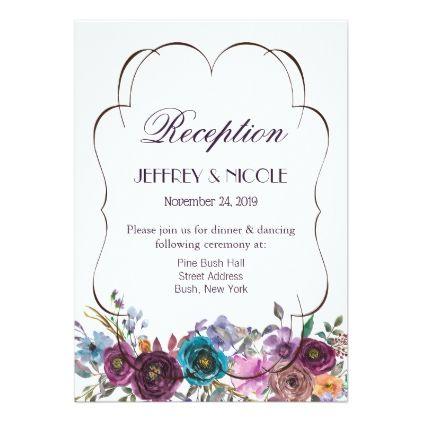 Purple Tan Lavender Flower Wedding Reception Card Invitations Custom Unique Diy Per Flower Wedding Invitation Lavender Wedding Flowers Unique Wedding Flowers