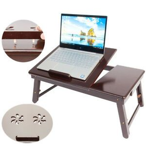 Foldable Laptop Table Stand for Bed Aluminum Ergonomics Design RAINBEAN Portable Sofa Vented Lap Desk with Mouse Pad Side Compatible Notebook PC Tray Table for Couch Black