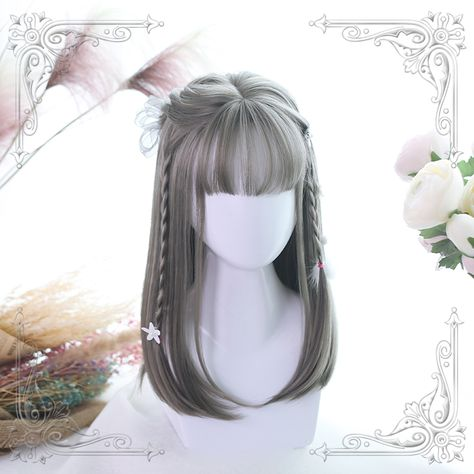 Sweet Long Hair Hime Cut Wig - Steel Gray A / One Size