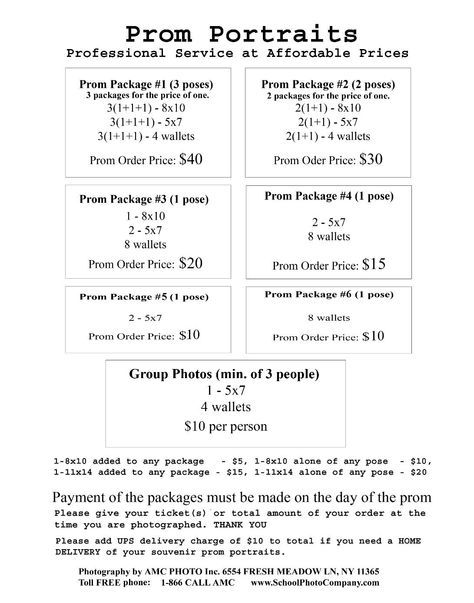 Photography Package Price List Nyc Affordable And Reliable School Photography Company Photo Packages Prom Photography Photography Pricing Photo Packages