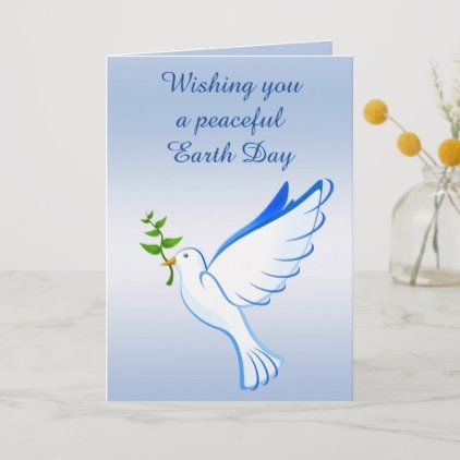 Dove Of Peace Blue Earth Day Card Zazzle Com In 2020 Blue Valentine Blue Earth Cards