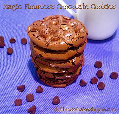 Dollhouse Bake Shoppe: Magic Flourless Chocolate Cookies - Low Fat, Gluten Free {Small Batch - Yiled: 8-10}
