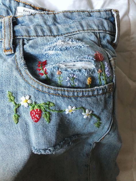 In my opinion, the best way to customize clothing is by adding some embroidery. Find out how I made a custom pair of denim with embroidery! Embroidery On Clothes, Simple Embroidery, Shirt Embroidery, Embroidered Clothes, Hand Embroidery Designs, Diy Jean Embroidery, Diy Embroidered Jeans, Denim Jacket Embroidery, Embroidery Fashion