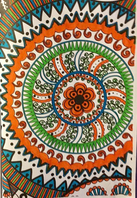 Mandala Colored Wiyh Gel Pens By Judy Soto My Coloring
