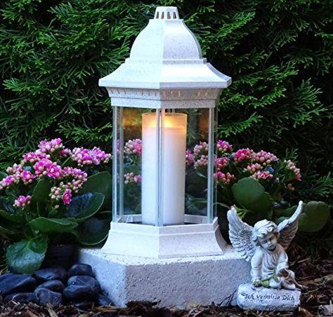 Grablaterne Grablampe Lampe Grableuchte Grablicht Grabschmuck Rose Grabstein