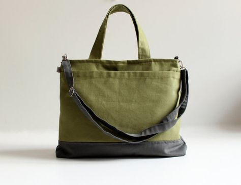 Worthy Bag in Olive Green with Grey / Unisex Laptop by bayanhippo, $42.00
