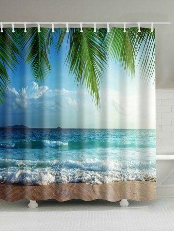 Beach Scenery Waterproof Shower Curtain Beach Shower Curtains