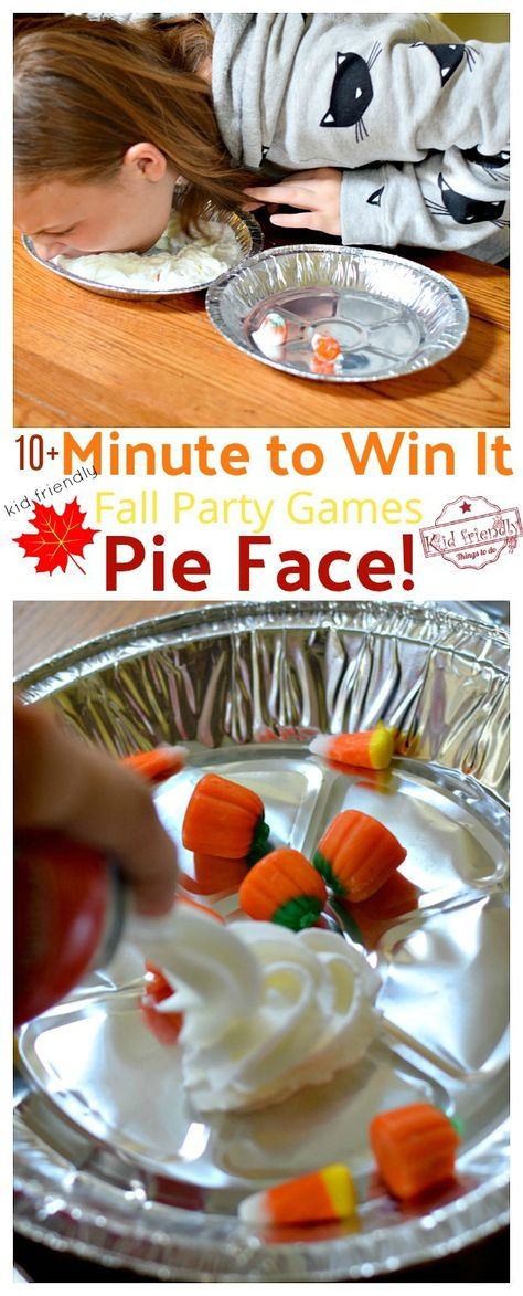 Over 10 Easy Minute to Win It Games that are Kid Friendly with a Fall Theme. These Thanksgiving Party games are perfect for kids, teens and adults. The whole family will enjoy these hilarious Thanksgiving or Fall Games to Play with Kids. Funny Christmas Party Games, Fall Party Games, Fall Games, Halloween Party Games, Games For Parties, Party Games For Toddlers, Adult Party Games Funny, Harvest Party Games, Carnival Party Games
