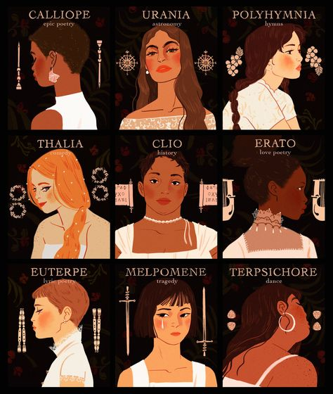 I enjoy the many interpretations of Greek mythology, and these diverse muses are a wonderful display of this interpretation of the Greek goddesses of the arts, something the Greeks held to a high standard. Greek And Roman Mythology, Greek Gods And Goddesses, Greek Goddess Mythology, Goddess Names, Egyptian Goddess, Ancient Egyptian Art, Ancient Aliens, Ancient History, Dibujos Percy Jackson