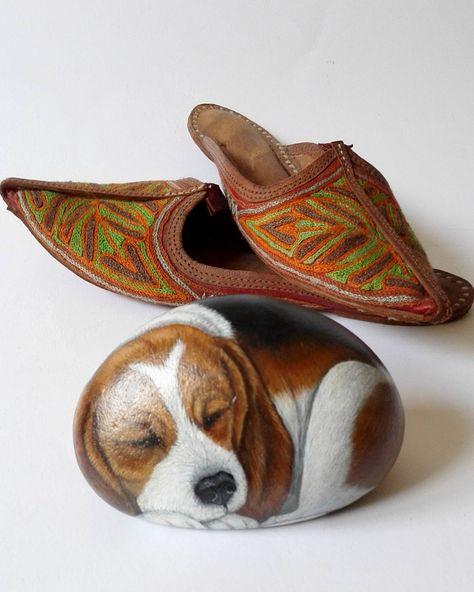paintingstones #dog #beagle #cane #sleep...