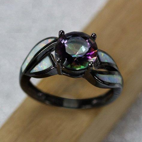 Rings - Rainbow Fire Opal Black Gold Rings