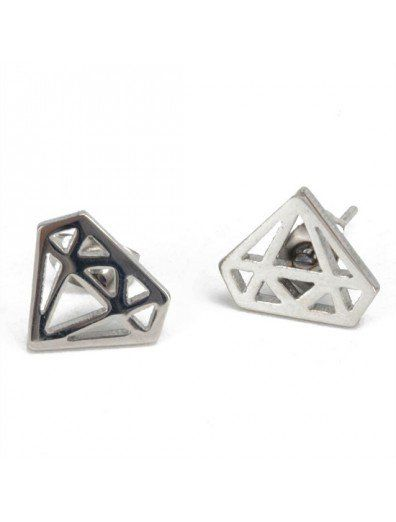 Stainless Steel 2pcs Black Dangling Triangle Pyramid Huggie Hinged Earrings for Men Women Boys