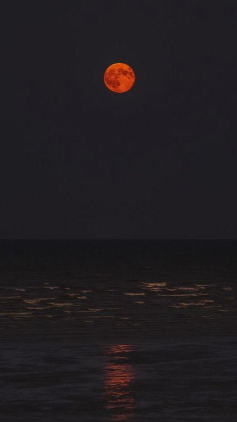Moon | Moonlight | Night | Beach | Summer Feelings |Dark | Red Moon | Wallpaper