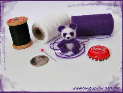 Miniature Purple Panda Crochet Thread Pattern by  Amigurumi To Go