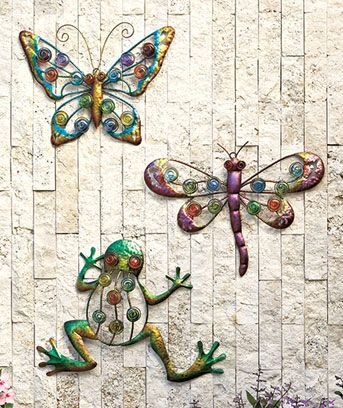 Colorful Outdoor Wall Decor Erfly Dragonfly Or Frog Metal Sm303042 6owd Btf 17 95 Smart Saver Llc For The Home Pinterest Walls