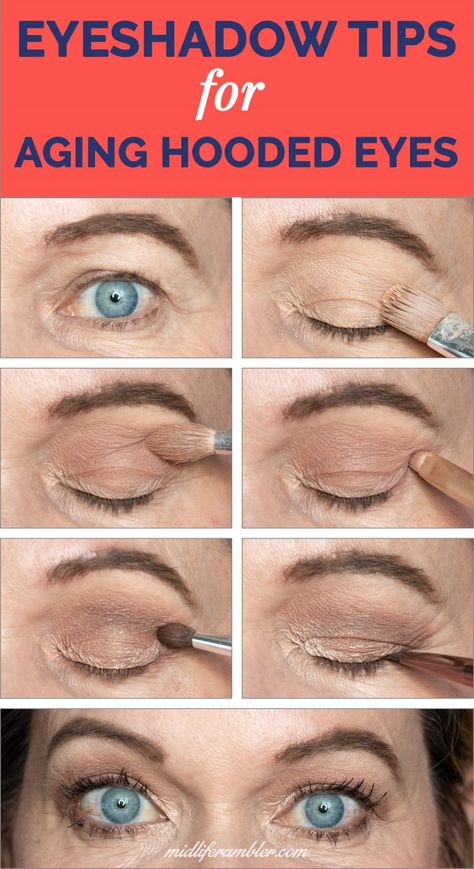 Struggling with eye makeup for your aging, hooded, droopy eyes? This eyeshadow t… Struggling with eye makeup for your aging, hooded, droopy eyes? This eyeshadow tutorial has tons of tips to enhance your look. Lots of options and helpful videos! Eyeshadow Tips, Eye Makeup Tips, Beauty Makeup, Eyeshadow Tutorials, Makeup Videos, Makeup Tutorials, Beauty Tips, Beauty Products, How To Makeup