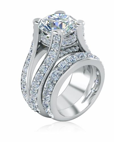 4 Carat Round Lab Created Cubic Zirconia Engagement Ring And Matching Band By Ziamond Split Shank Wedding Set Wedding Band Sets Cubic Zirconia Engagement Rings