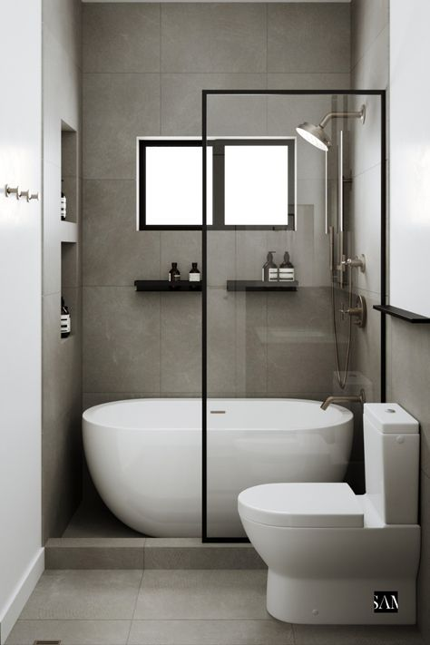Creating a pseudo wet-room space, this layout now boasts a bathtub - shower combination with double drain construction, compact rain head, modern cement tiles, and even a recessed hand towel ring to save space. Small Wet Room, Small Full Bathroom, Small Bathroom Layout, Modern Small Bathrooms, Wet Room With Bath, Small Bathroom Bathtub, Cement Bathroom, Bathtubs For Small Bathrooms, Small Bathroom Renovations