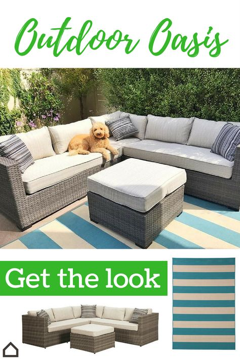 Create an outdoor oasis for the whole family, including the fur babies. The Peckham Park sectional is perfect for entertaining, reading or taking a nap. Comfy pillows and a fun striped rug complete the look. #outdoor #patio