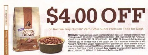 14 Coupons 4 Off Rachael Ray Nutrish Zero Grain Super Premium Dog