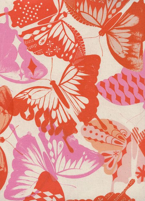 Red, orange and pink butterflies on an off-white background fabric. Flutter Orange is a print from the Flutter Collection by Melody Miller. A Cotton + Steel quilting fabric.